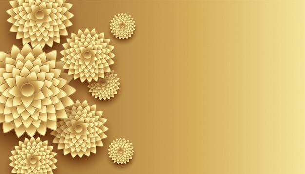 Decoração de flores douradas 3d com fundo de espaço de texto
