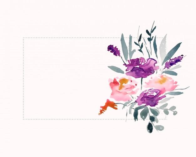 Decoração de flores em aquarela com área de espaço de texto