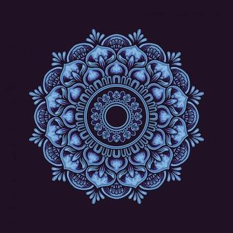 Decoração de flores mandala. em azul escuro e brilhante.