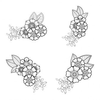 Decoração de flores mehndi em estilo étnico oriental, indiano. doodle ornamento. mão de contorno desenhar ilustração.