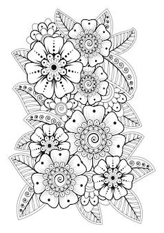 Decoração de flores mehndi em estilo étnico oriental, indiano. doodle ornamento.