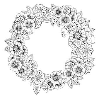 Decoração de flores mehndi. ornamento decorativo em estilo oriental étnico. página para colorir.
