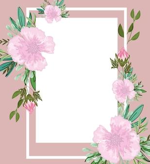 Decoração de folhas de flores, ilustração de modelo de cartão de felicitações, pintura