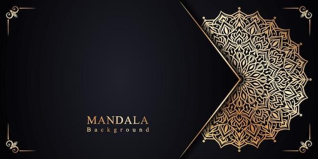 Decoração de fundo de mandala floral dourado em estilo arabescos islâmicos