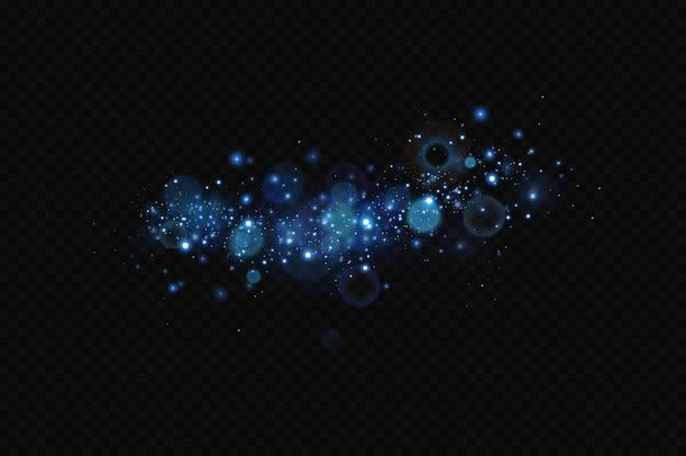 Decoração de fundo de partículas cintilantes em azul brilhante