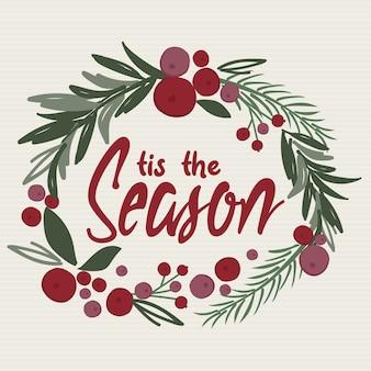 Decoração de guirlanda de natal em aquarela com escrita das estações, folha de pinheiro, bagas, guirlanda de porta