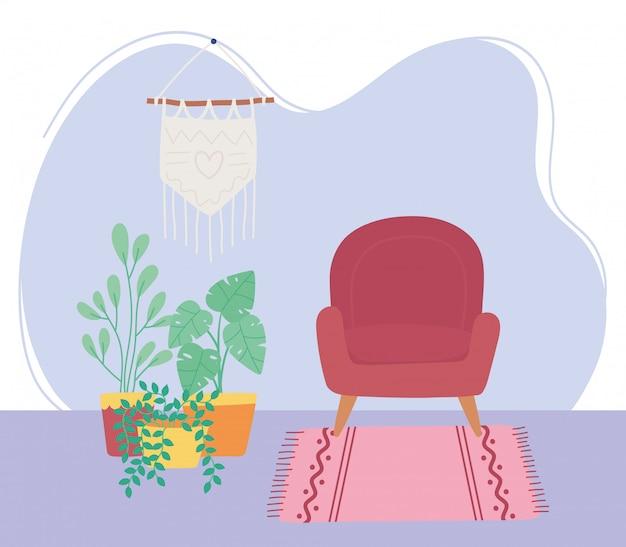 Decoração de interiores de plantas em vasos de parede pendente de cadeira de sala de estar
