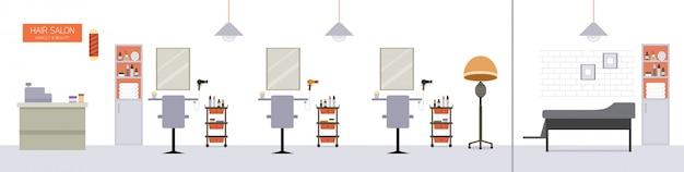 Decoração de interiores de salão de cabeleireiro, salão de beleza, barbearia com móveis, mesas, cadeiras, espelhos, secador de cabelo, balcão de pagamento, lavatório de xampu e outros equipamentos para cabeleireiro