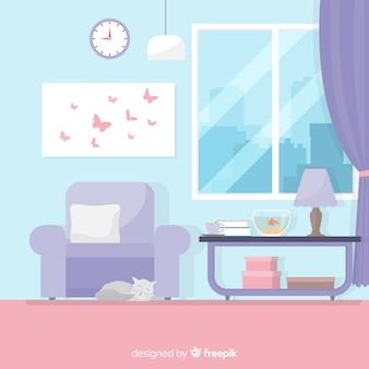 Decoração de interiores para casa moderna com design plano