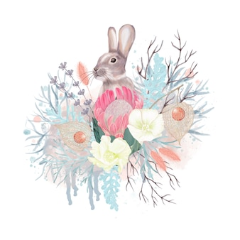 Decoração de inverno com flores e coelho