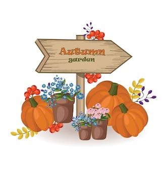 Decoração de jardim de outono. sinal de madeira abóbora e flores caem temporada