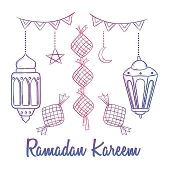 Decoração de kareem ramadan doodle colorido com lanterna e texto
