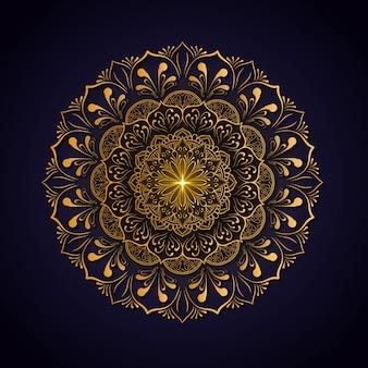 Decoração de luxo de flores mandala com cor de ouro brilhante. modelo de ioga. relax, islamic, arabescos, indianas, turquia.