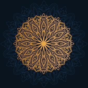 Decoração de luxo de flores mandala com cor de ouro brilhante.