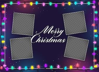 Decoração de luzes de Natal feliz com espaço de imagem