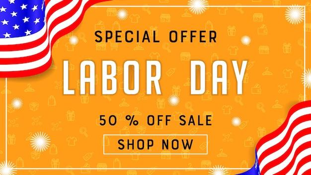 Decoração de modelo de banner de publicidade de promoção de venda do dia do trabalho com bandeira americana