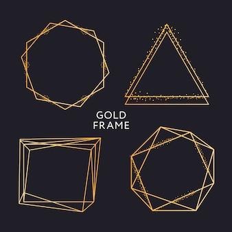 Decoração de moldura de ouro isolada gradiente metálico ouro brilhante