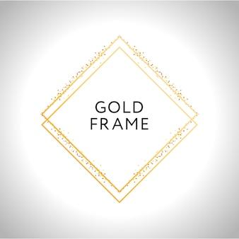 Decoração de moldura de ouro isolada