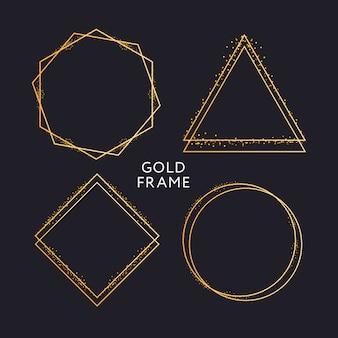 Decoração de moldura de ouro isolado padrão de borda gradiente metálico ouro brilhante
