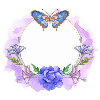 Decoração de moldura floral em aquarela com borboleta azul
