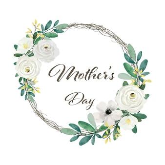 Decoração de moldura floral para o dia das mães
