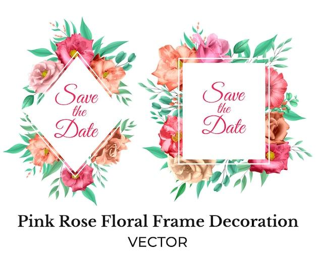 Decoração de moldura floral rosa rosa