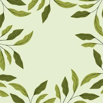 Decoração de moldura natural de folhas verdes