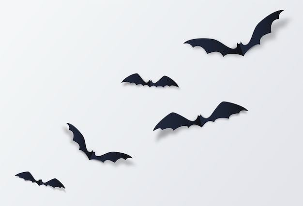 Decoração de morcego de halloween. estilo de corte de papel.