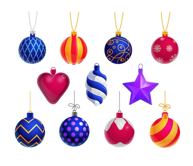 Decoração de natal. bola de vidro de natal, coração, estrela, enfeites em fundo branco. molde da decoração do feriado. objeto decorativo popular do enfeite de natal. ilustração de adorno