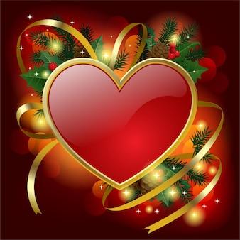 Decoração de natal com banner em formato de coração e fita dourada