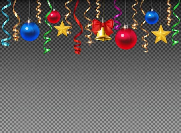 Decoração de natal com enfeites e bolas