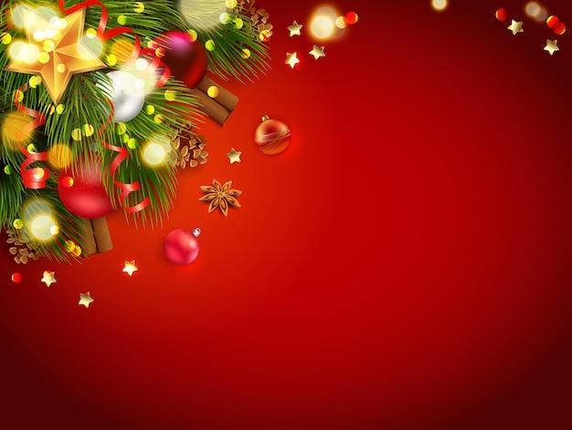 Decoração de natal com fundo vermelho Vetor grátis