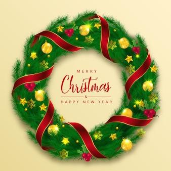 Decoração de natal com grinalda de feliz natal. Vetor Premium