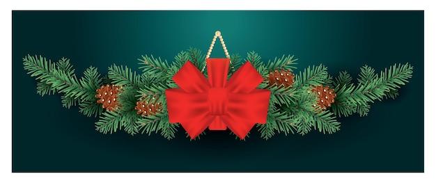 Decoração de natal com laço vermelho em galhos de árvore do abeto com cones.