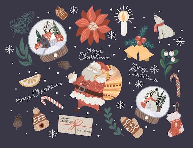 Decoração de natal, como galho de abeto, bola de vidro, poinsétia, pinhas e muito mais. Vetor Premium