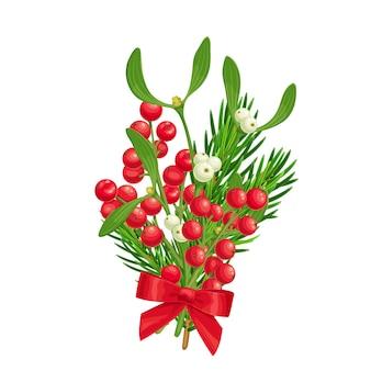 Decoração de natal de bagas de azevinho de galho de abeto e visco com laço vermelho Vetor Premium