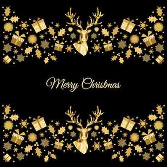Decoração de natal dourada. fundo de feliz ano novo. cabeça de rena de natal de ouro. molde do vetor para o cartão.