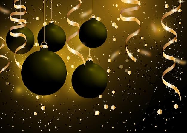 Decoração de natal e ano novo com bolas de enfeites pretas e fitas douradas sobre fundo preto escuro. enfeite de natal de suspensão brilhante. decoração do feriado de inverno.