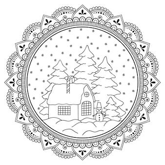 Decoração de natal em forma de mandala com elementos de decoração festiva. página do livro para colorir.