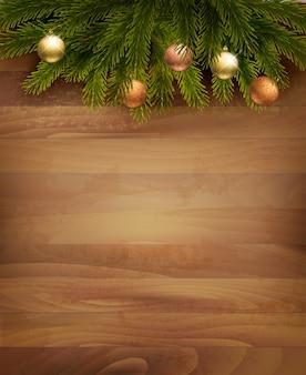 Decoração de natal em fundo de madeira