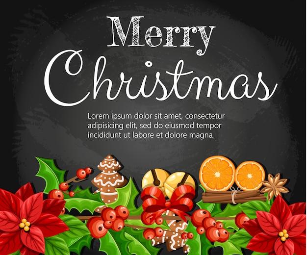 Decoração de natal, flor de poinsétia vermelha e visco com folhas verdes, pão de gengibre, fatia de laranja, canela, vara ilustração em fundo preto com lugar para seu texto