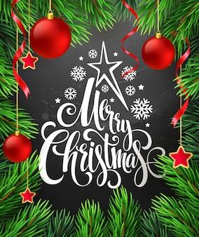 Decoração de natal no quadro de giz com letras, cartão de felicitações