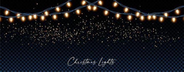 Decoração de natal ou ano novo com guirlanda de lâmpadas e glitter
