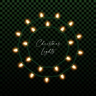 Decoração de natal ou ano novo com guirlanda de lâmpadas