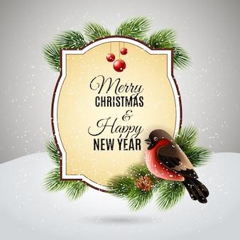 Decoração de natal para o cartão postal de saudações de ano novo com redbreast no brunch de árvore de pinho
