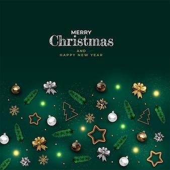 Decoração de natal realista com estrela dourada, bola, fitas, galhos de pinheiro