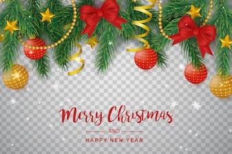 Decoração de Natal transparente com arcos e bolas