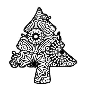 Decoração de natal zentangle isolada no fundo branco