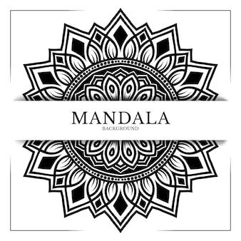 Decoração de ornamento de fundo de mandala em preto e branco