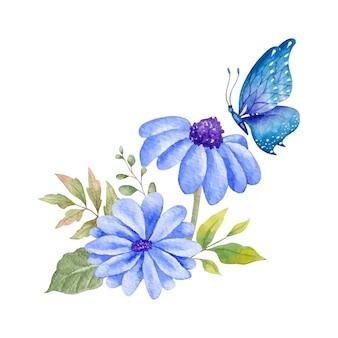 Decoração de ornamentos florais adoráveis e elegantes com borboleta